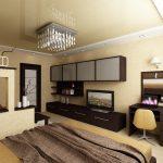 дизайн интерьера спальни с глянцевым потолком