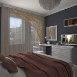 дизайн интерьера спальни с рерыми стенами
