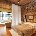 дизайн спальни в стиле лофт зонирование