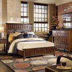 дизайн интерьера спальни винтаж с деревянной мебелью