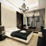 дизайн интерьера спальни винтаж в черно-белых тонах