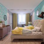 дизайн интерьера спальни в желто-бирюзовых оттенках