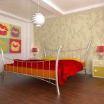 дизайн спальни в стиле поп арт с постером на стене