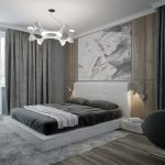 дизайн спальни в сервх тонах с роспись на стене