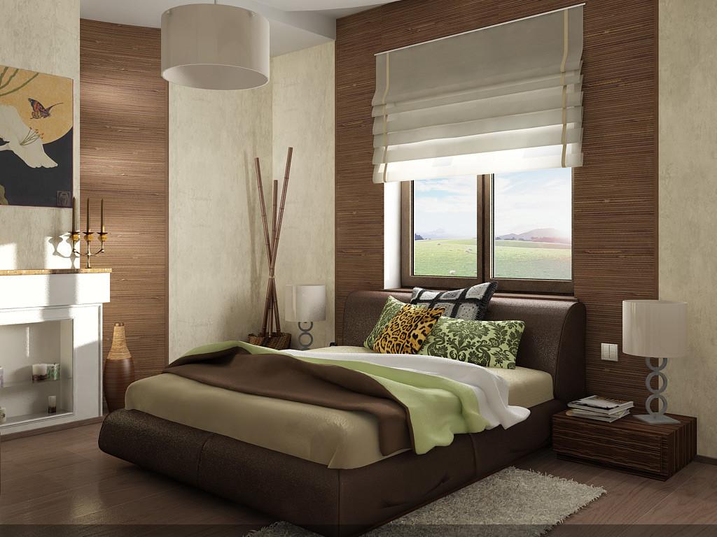 экостиль спальни с бамбуковыми стенами