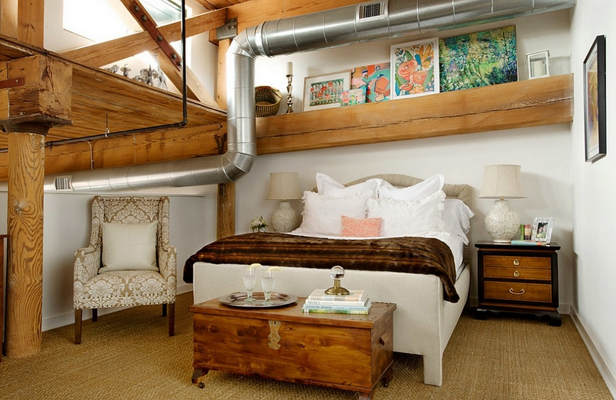спальня в стиле индастриал