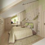 интерьер спальни под крушей в бежевых тонах