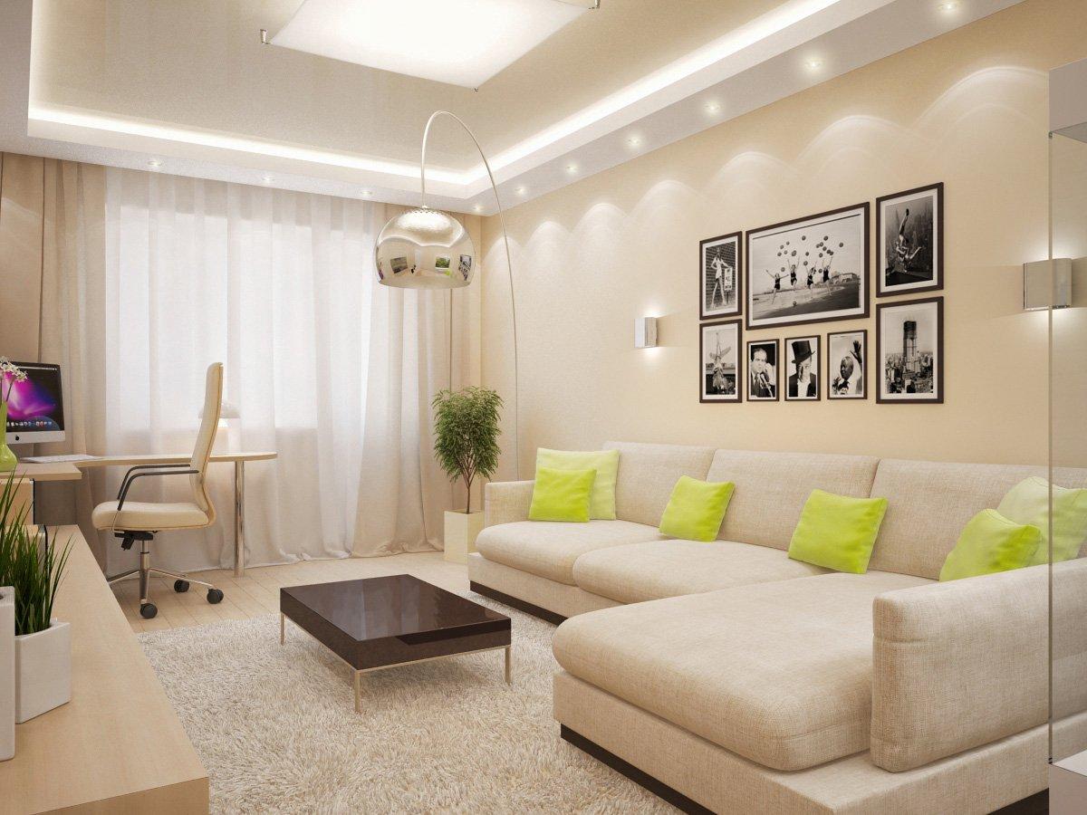 интерьер спальни с картинами на стене и салатовыми подушками