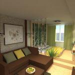 интерьер спальни с кроватью подиумом желто-зеленый декор