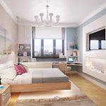 интерьер спальни с подвесной кроватью