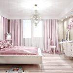 интерьер спальни с розовым шелком
