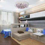интерьер спальни с зонированием синим интерьером
