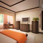 интерьер спальни с зоной кабинет