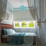 интерьер спальни зонирование шторами