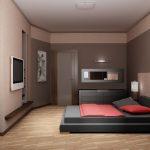 интерьер спальни в современном стиле серые тона с красным пледом