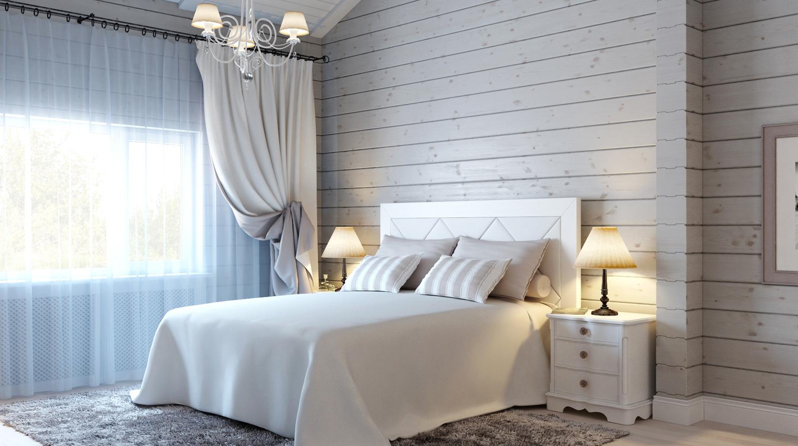 нежный интерьер спальни в деревянном стиле