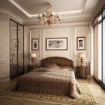 интерьер спальни в классическом стиле коричневых оттенков