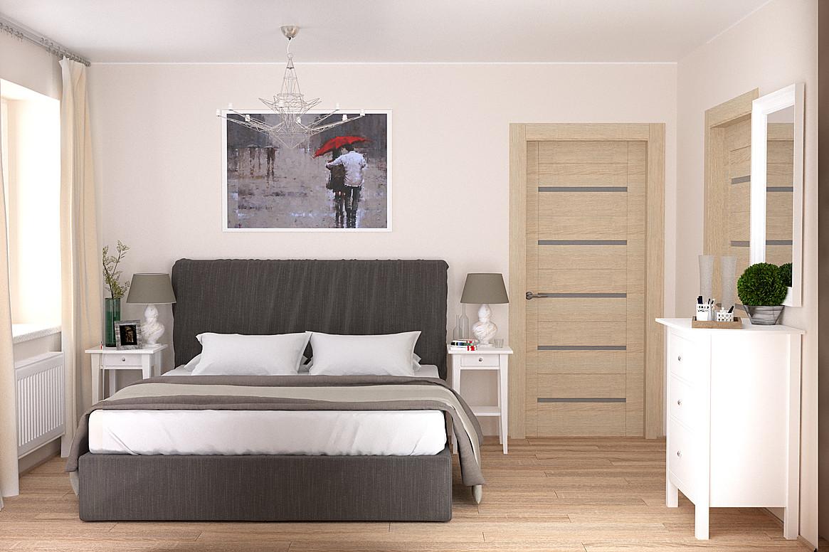 интерьер спальни с картиной над кроватью