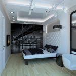 дизайн в стиле хай тек с многоуровневым потолком