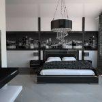 дизайн спальни в стиле хай тек черно-белые тона