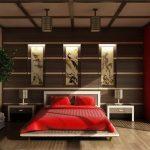дизайн спальни в китайском стиле с красными тонами
