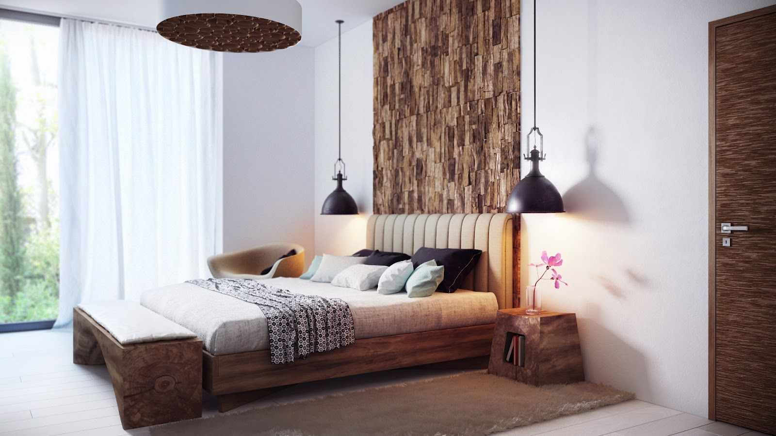 комфортная спальня с подвесными торшерами