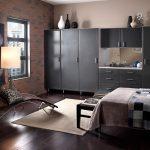 спальня в силе лофт с кирпичной стеной