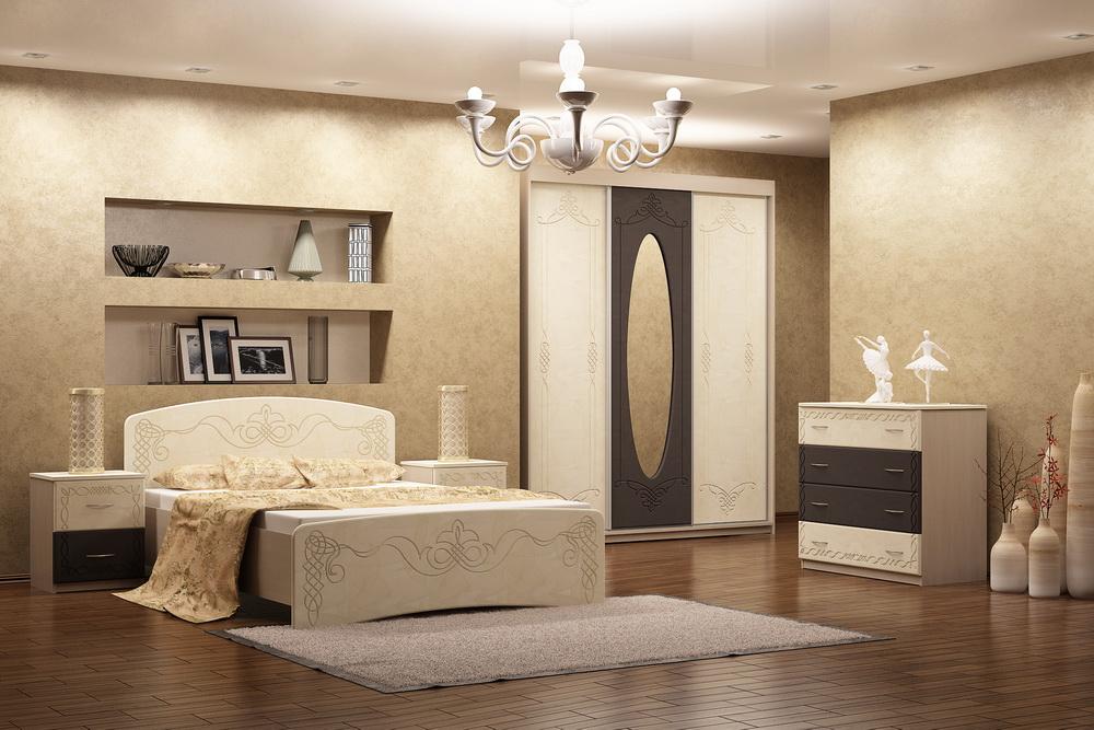 Прикроватный столик лучше покупать в ганитуре, чтобы спальня смотрелась гармонично.