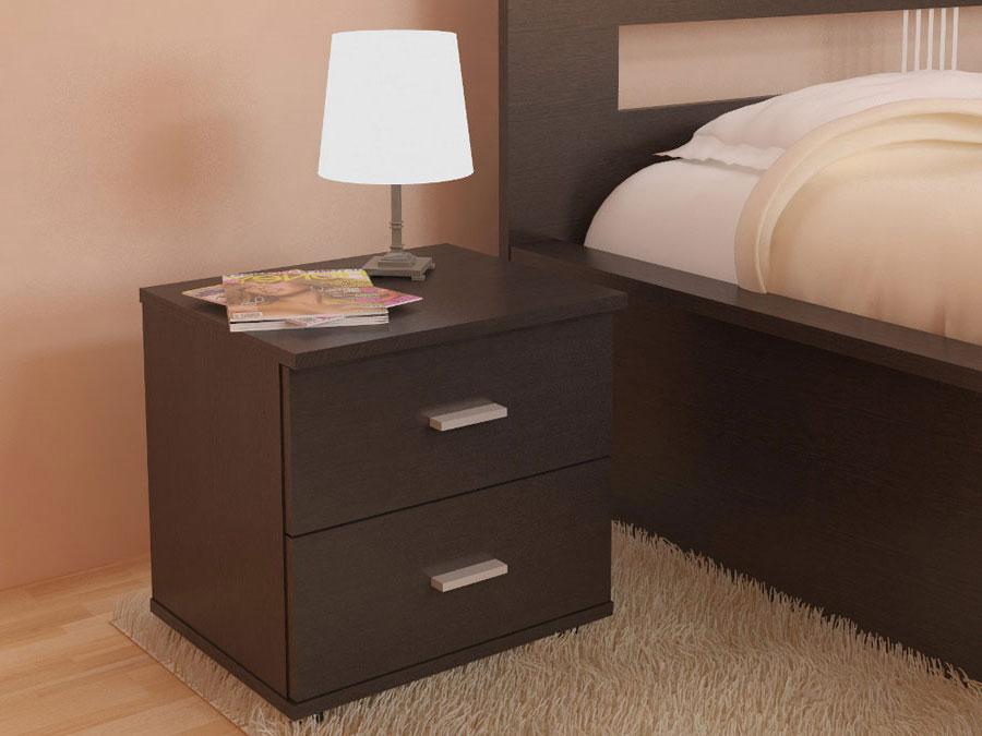 прикроватная тумба с ящиками цвет коричневый