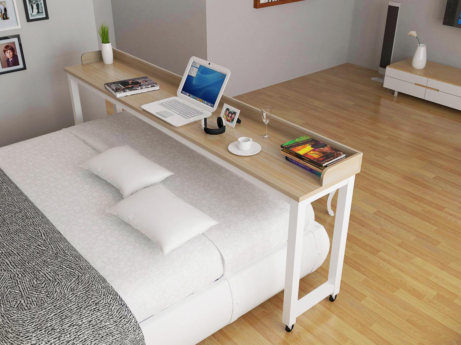 длинный прикроватный столик во всю ширину кровати