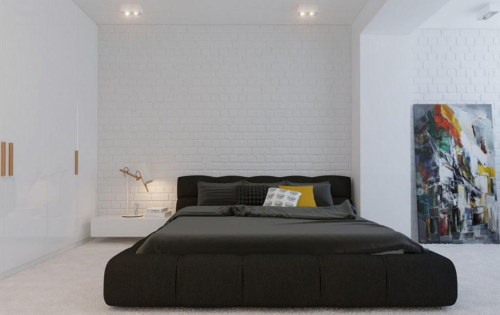 прикроватный столик в интерьере спальни минимализм