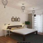 скандинавский стиль спальни с прикроватным столиком