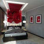 современный дизайн спальни с серебристыми стенами и красными розами
