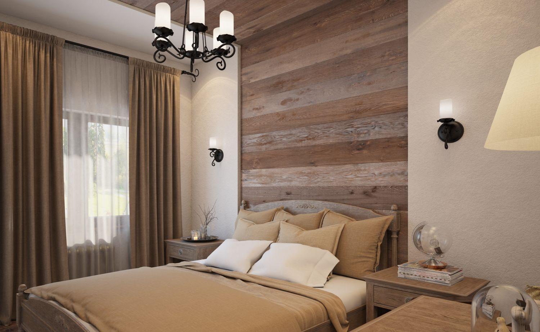 спальня в стиле экостиль с деревянным изголовьем