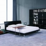 дизайн спальни в стиле хай тек черная мебель