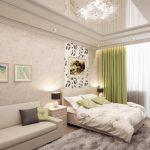 дизайн интерьера спальни с гостинной