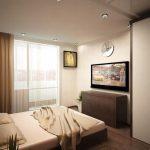 дизайн интерьера спальни с натяжным потолком коричневые тона