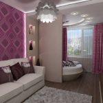 дизайн интерьера розовой спальни зонирование