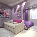 дизайн интерьера спальни с зонированием в сиреневых тонах