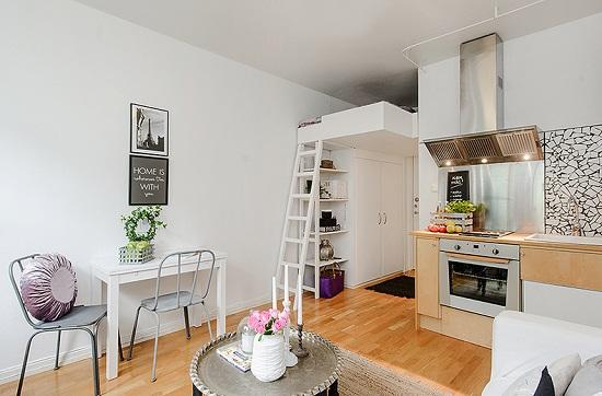 спальня студия с кухней