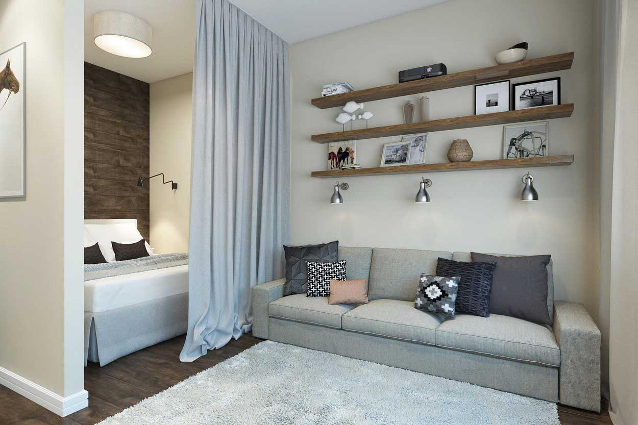 спальня в однокомнатной квартире зонированная занавеской