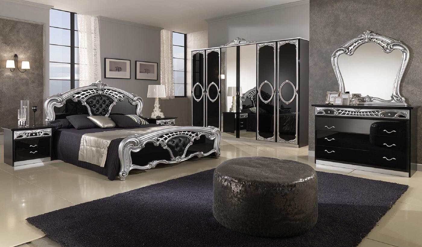 спальня в стиле готика с черной глянцевой мебелью