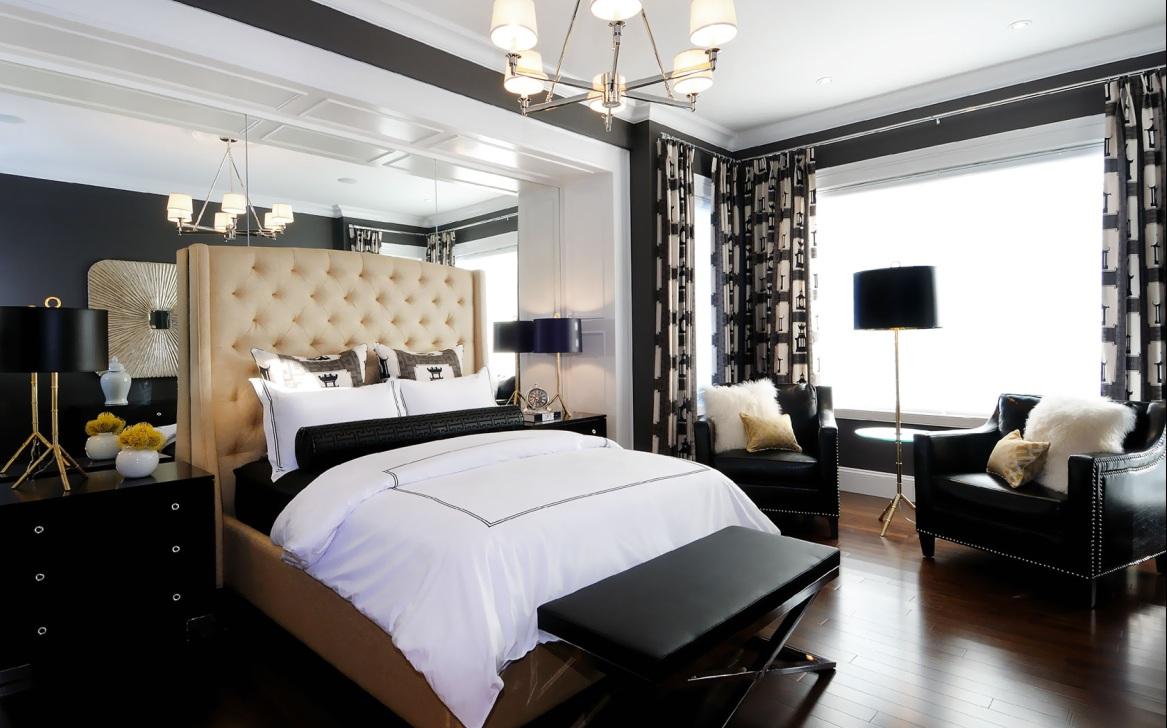 спальня в стиле модерн с торшером и банкеткой