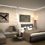 дизайн интерьера спальни и гостинной в серых оттенках