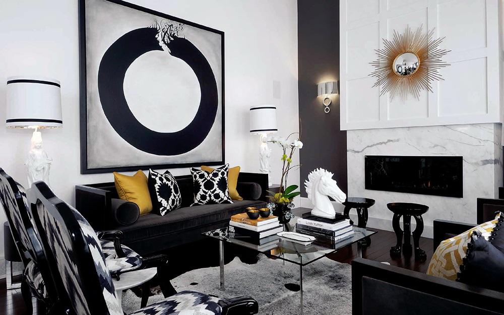 Главные черты оформления черно-белой комнаты